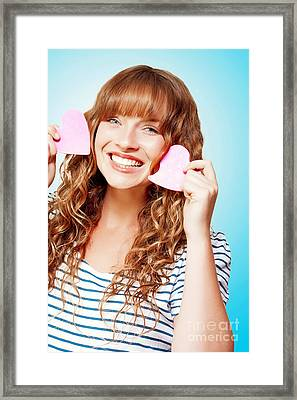 Beautiful Young Woman In A Love Heart Romance Framed Print