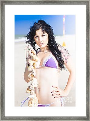 Beautiful Young Woman On The Beach Framed Print by Jorgo Photography - Wall Art Gallery