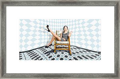 Beautiful Young Woman Sitting In A Trendy Shoes Framed Print by Jorgo Photography - Wall Art Gallery