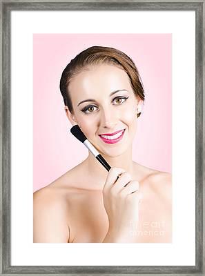 Beautiful Young Woman Wearing Natural Day Make-up Framed Print