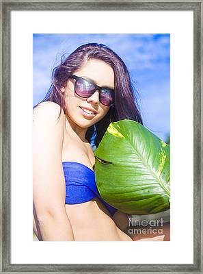 Beautiful Young Woman With Green Leaf Framed Print by Jorgo Photography - Wall Art Gallery