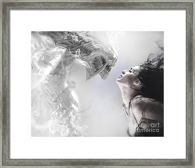 Beauty And The Beast, Beautiful Woman Kissing A Monster Framed Print by Caio Caldas