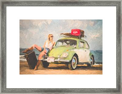 Framed Print featuring the digital art Beauty And The Beetle - Road Trip No.1 by Serge Averbukh
