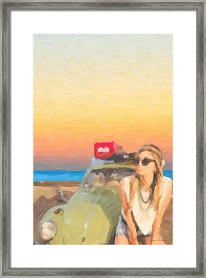 Framed Print featuring the digital art Beauty And The Beetle - Road Trip No.2 by Serge Averbukh