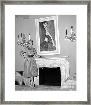 Beauty, Betty Furness, Poses With Her Likeness Behind Her. 1956 Framed Print by Anthony Calvacca