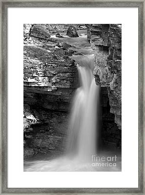 Beauty Creek Stanley Falls Black And White Framed Print