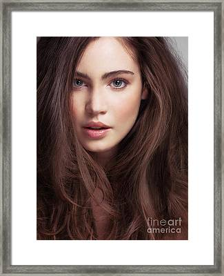 Beauty Face Portrait Of A Young Woman With Long Brown Hair And G Framed Print