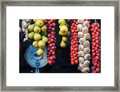 Beauty In Tomatoes Garlic And Pears Framed Print