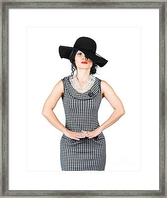 Beauty Model Posing In Classy Outfit With Hat Framed Print