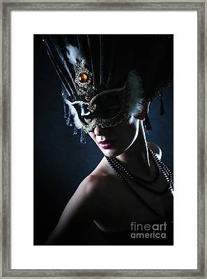 Framed Print featuring the photograph Beauty Model Wearing Venetian Masquerade Carnival Mask by Dimitar Hristov