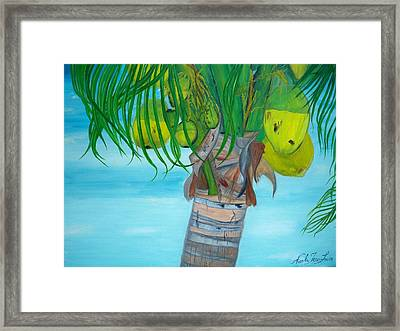 Framed Print featuring the painting Beauty Of A Coconut Palm Tree by Nicole Jean-louis