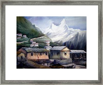 Beauty Of Himalayan Village Framed Print by Samiran Sarkar