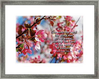 Beauty Of Holiness Framed Print by Lincoln Rogers