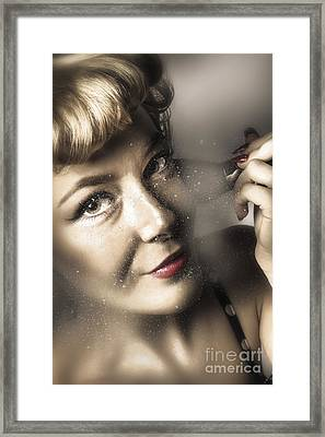 Beauty Pin-up Woman Applying Makeup Framed Print