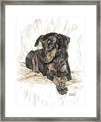Beauty Pose - Doberman Pinscher Dog With Natural Ears Framed Print