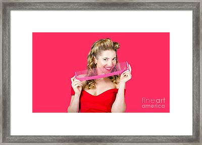 Beauty Salon Pinup Girl Smiling With Haircare Comb Framed Print
