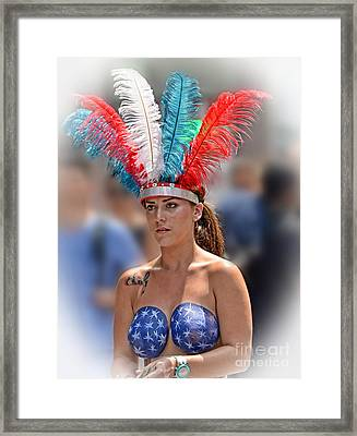 Beauty With A Feathered Headdress II Framed Print by Jim Fitzpatrick