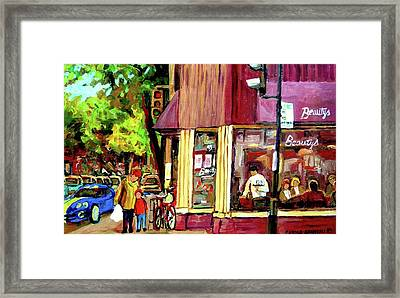 Beautys Luncheonette Montreal Diner Framed Print by Carole Spandau