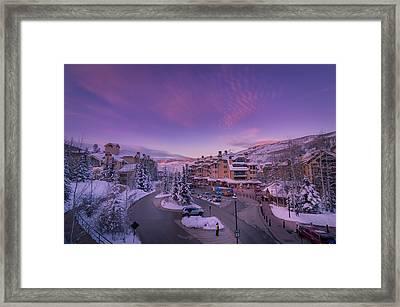 Beaver Creek Village Sunset Framed Print