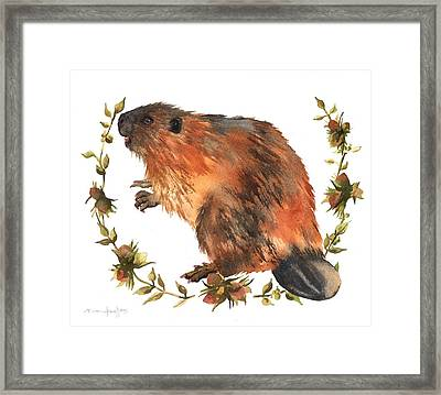 Beaver Painting Framed Print by Alison Fennell