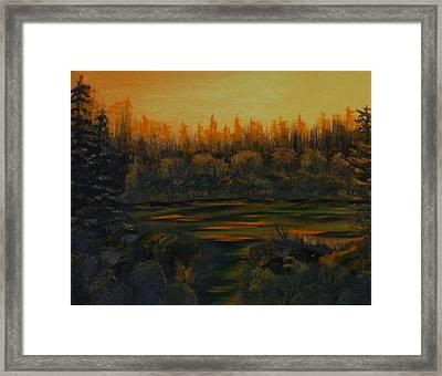 Beaver Pond At Sunset Framed Print by Rebecca  Fitchett