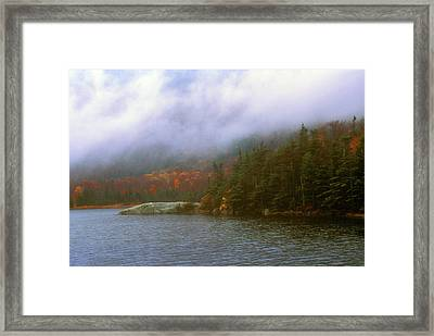 Beaver Pond Kinsman Notch Autumn Storm Framed Print by John Burk