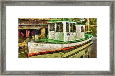 Framed Print featuring the photograph Beaver The Old Fishing Boat by Thom Zehrfeld