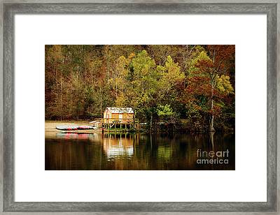 Beaver's Bend Canoe Hut Framed Print by Tamyra Ayles