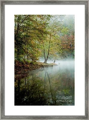 Beavers Bend Creek Misty Morning Framed Print by Iris Greenwell