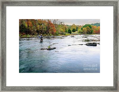 Beaver's Bend Fly Fishing Framed Print by Tamyra Ayles