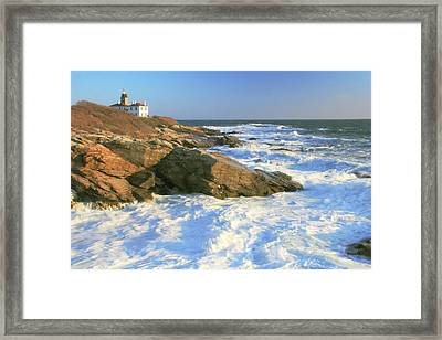 Beavertail Point And Lighthouse  Framed Print