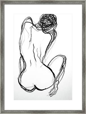 Framed Print featuring the drawing Because The Night by Jarko Aka Lui Grande
