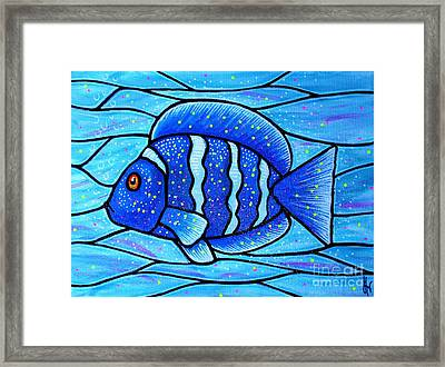 Framed Print featuring the painting Beckys Blue Tropical Fish by Jim Harris