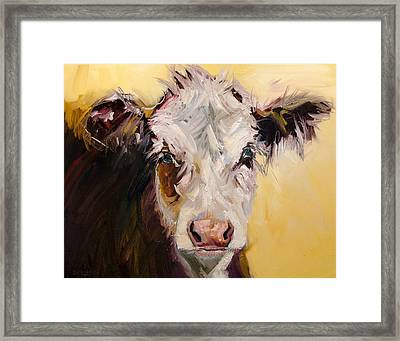 Bed Head Cow Framed Print
