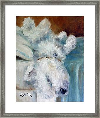 Bed Hog Framed Print by Mary Sparrow