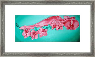 Bed Of Orchids Framed Print by Davinia Hart