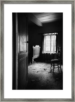 Framed Print featuring the photograph Bed Room Chair - Abandoned Building by Dirk Ercken