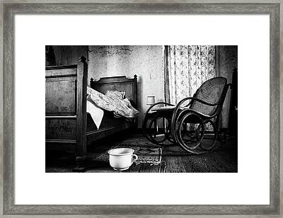 Framed Print featuring the photograph Bed Room Rocking Chair - Abandoned Building Bw by Dirk Ercken