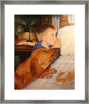 Framed Print featuring the painting Bed Time Prayers by Mike Ivey