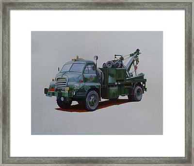 Framed Print featuring the painting Bedford Wrecker Afs by Mike Jeffries