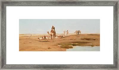 Bedouin In The Desert Framed Print by Frederick Goodall