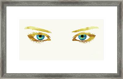 Bedroom Eyes, Blue Eyes, Gold Lashes Framed Print by Tina Lavoie