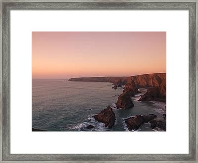 Bedruthan Steps Sunset Framed Print by Helen Northcott