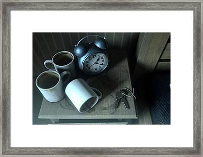 Bedside Table Insomnia Scene Framed Print