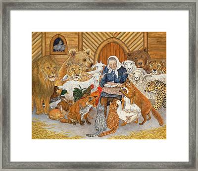 Bedtime Story On The Ark Framed Print by Ditz