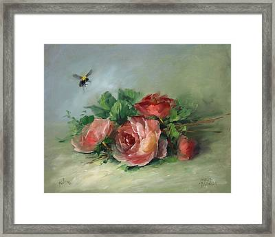 Bee And Roses On A Table Framed Print by David Jansen
