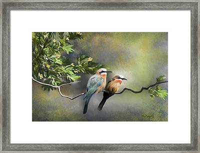 Framed Print featuring the digital art Bee-eater Birds by Thanh Thuy Nguyen