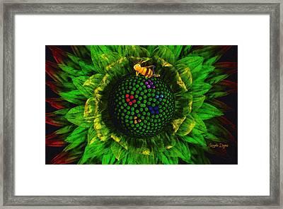 Bee Flower - Da Framed Print by Leonardo Digenio