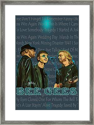 Bee Gees Poster Framed Print by Paintings by Gretzky