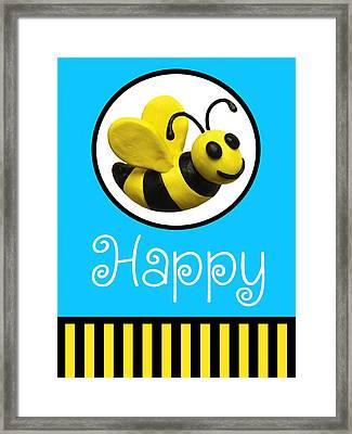 Bee Happy Framed Print by Amy Vangsgard